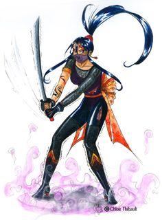 Femme ninja. Aquarelle.