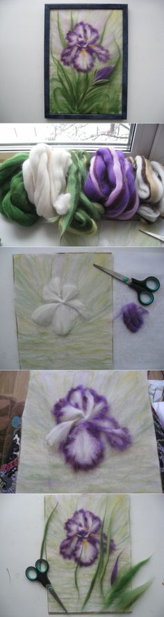 Woolen water color - Waltz of the Flowers! Felt Wall Hanging, Felt Pictures, Coloring Book Art, Needle Felting Tutorials, Wool Art, Felt Decorations, Nuno Felting, Felt Art, Flower Tutorial