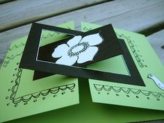 handmade card ... gatefold with interlock parts on the front ... great idea ... green and black ...
