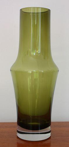 1970s Riihimaen Lasi Oy Finland Olive Green by janestangerinehouse, £20.00
