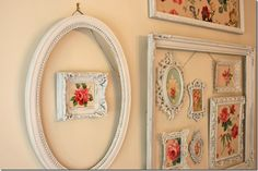 empty frames with vintage wallpaper on the wall Shabby Chic Cottage Pink Roses Decor, Shabby Chic Decor, Shabby Chic Frames, Vintage Wallpaper, Picture Frame Decor, Frame Decor, Vintage Frames, Frame, Diy Wall Art