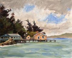 "Daily Paintworks - ""Foggy Tomales Bay"" - Original Fine Art for Sale - © Deborah Newman"