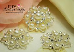 25mm Rhinestone Pearl buttons Flatback by DIYBoutiqueSupply, $5.95