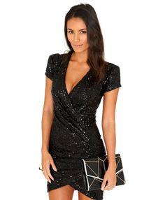 Danica Crossover Sequin Mini Dress In Cobalt - Dresses - Sequin Dresses - Missguided