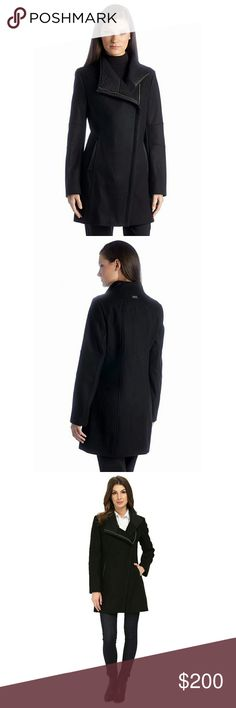 Calvin Klein Faux-Leather Trim Wool-Blend Coat Make a statement this season in Calvin Klein's sophisticated coat featuring a cool asymmetrical front, sleek faux-leather trim and a luxurious wool-blend fabric.   Stand collar; faux-leather trim under neckline Hidden asymmetrical zipper closure at front Long sleeves On-seam pockets with faux leather trim Lined Logo detail at the collar back 33 inches long Body: 62% wool, 28% polyester, 5% rayon, 5% other fibers; Lining: 100% polyester;faux…