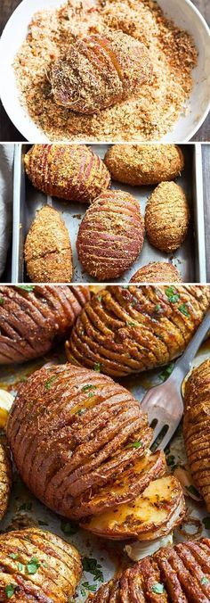 Awesome dinner recipe for potatoes. Try these Garlic Parmesan Butter Roasted Potatoes if you're looking for a striking side dish that will impress your guests. Crispy on the outside and tender on the inside, they are very easy to mak… Potato Recipes, Vegetable Recipes, Vegetarian Recipes, Cooking Recipes, Healthy Recipes, Beans Recipes, Potato Side Dishes, Vegetable Side Dishes, Dinner Side Dishes