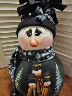 Handpainted Folk Art Primitive Snowman Doll Gourd
