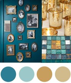 Christmas Colour Palette- Teal & Gold Today's Christmas colour palette of teal and gold is somewhat of a modern take on green and gold but I fell in love with the richness of the teal combined with the different shimmering golds. Living Room Color Schemes, Teal Color Schemes, Teal Living Rooms, Gold Color Scheme, Blue And Gold Living Room, Aqua Color Palette, Teal And Gold, Teal Green, Teal Gold Wedding