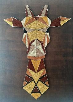 Giraffe String Art painting Giraffe: 420 meters of thread used Gütermann variations of Brown, yellow ochre, mustard yellow and black) and 920 silver spikes nailed to painted wood Rustic style Board. Size: by Price: 180 euros. String Art Templates, String Art Patterns, Hilograma Ideas, Nail Ideas, Decor Ideas, String Art Diy, String Crafts, Diy And Crafts, Arts And Crafts