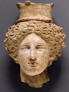 Head of a Goddess, perhaps Demeter or Kore, 350-300BC, Sicily, Italy.