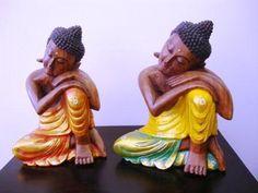 Buda Relax de madera Suar tallado y pintado a mano. www.balidekor.com