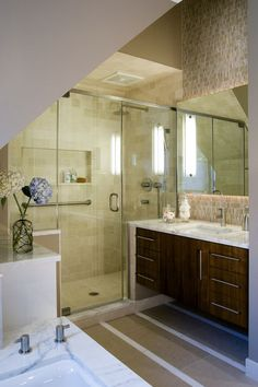I want to get rid of the bathtub in our family bathroom. Anyone besides me think installing a shower like this is a good idea?