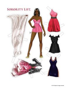 Paper Dolls ain't for children - Black / African-American / person of color college girl paperdoll