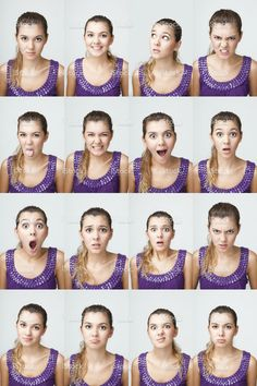 View top-quality stock photos of Young Girl Making Facial Expressions. Find premium, high-resolution stock photography at Getty Images. Girl Facial, Face Facial, Facial Expressions Drawing, Face Drawing Reference, Expression Sheet, Expressions Photography, Face Study, Portrait Sketches, Portrait Illustration