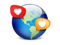 Social Dating World with Speech Bubbles Icon - http://www.dawnbrushes.com/social-dating-world-with-speech-bubbles-icon/