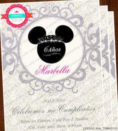 Invitaciones Mimi Mouse Fondo Color Plata por AVeDisenoImprimible
