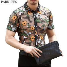 Cheap Casual Shirts, Buy Directly from China Suppliers:Flower Floral Lace Shirt Men 2018 Luxury Embroidery Men Transparent Dress Shirts Club Party Prom Sexy Social Shirt Chemise Homme Look Fashion, Mens Fashion, Fashion Outfits, Spring Fashion, Casual Outfits, Casual Shirts For Men, Men Casual, Transparent Shirt, Men Dress