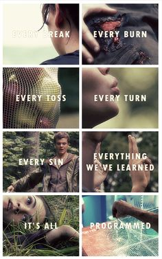 35 best Hunger Games images on Pinterest   The hunger games  Hunger     The Hunger Games   Catching Fire Mockingjay   Every break  burn  toss   turn  sin  everything we ve learned   It s all programmed