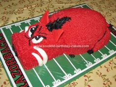 Homemade  Arkansas Razorback Cake: This Arkansas Razorback Cake was made for my brother's wedding, he is a die hard Arkansas Razorback fan so I decided that this would be a great groom's