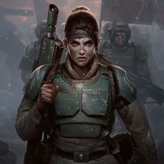 Cadian Honour- Cover Art by Darren Tan on -=Andro Women In Armor=- See More Armored Women Ready For Battle Warhammer 40000, Warhammer 40k Memes, Warhammer Imperial Guard, 40k Imperial Guard, Cyberpunk, Warhammer Fantasy, Character Portraits, Character Art, Guardia Imperial 40k
