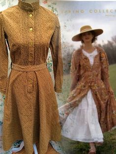 A truly beautiful dress dating from the mid 70s in a heavy cotton corduroy and a most lovely colour in a deep warm golden beige with a tiny