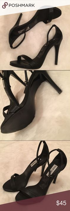 Steve Madden Stecy Matte Blsck strappy heel Good condition. Light signs of wear. Does not include the original box. Ankle strap Steve Madden Shoes Heels