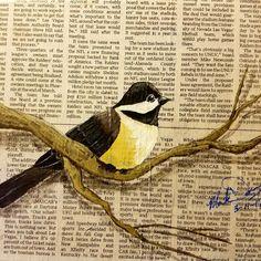 Sparrow 8x10 canvas Acrylic and decoupage