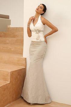 Two-piece, wedding, dress, off white, light gold, taffeta