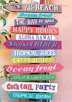 Cart - Ansichtkaart - Beach signs - C1009 | Cart Swiss | kaartfanaat Tiki Bar Signs, Pool Signs, Long Beach, Beach Camper, Key West Beaches, Beach Signs Wooden, Beach House Signs, Beach Items, Lake Decor