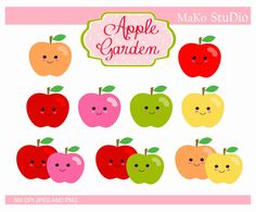 apple clip art apples Digital clip art apple with by makostudio