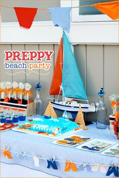 Preppy Beach Party. Cute idea to decorate your table with boat, bottles and other items you might have in your home or can borrow.