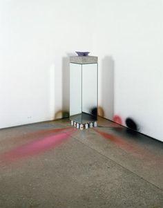 JIM LAMBIE Untitled, 2006  Concrete, mirror, shirt collar, spray paint