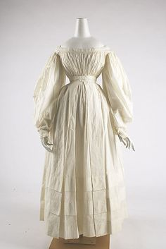Dress - Dress Date: ca. 1838 Culture: British Medium: cotton Dimensions: Length at CB: 46 1/2 in. (118.1 cm) Credit Line: Purchase, Irene Lewisohn Trust Gift, 1981