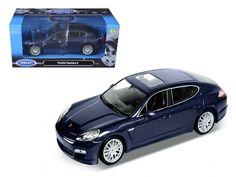 Porsche Panamera S Blue 1/24 Diecast Car Model by Welly