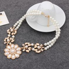 Colares Femininos Simulated Pearl Necklace for Women Fashion Gold Beads Choker Necklaces Statement Jewelry collier femme