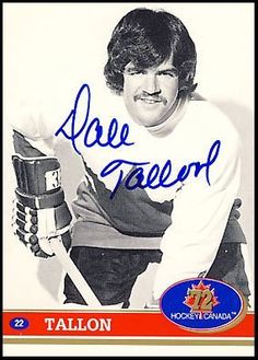DAVE TALLON 1972 Team Canada SIGNED Hockey Card by AJ Sports World. $29.00. This Hand-Signed Card has been beautifully and personally autographed by Dale Tallon. To protect your investment, a Certificate Of Authenticity and tamper evident hologram from A.J. Sports World is included with your purchase for an unconditional lifetime guarantee of authenticity.