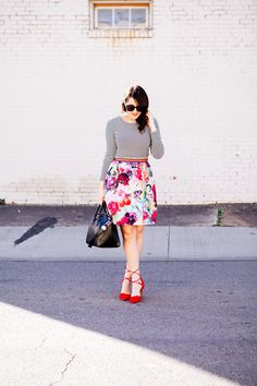 floral skirt and a striped tee from style blogger kendi everyday.