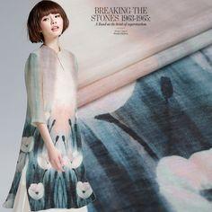 Magnolia high-end silk linen fabric for cheongsam dress silk hemp 140x115cm