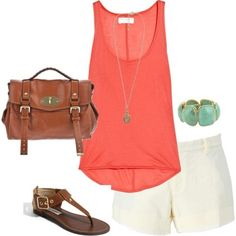 white shorts + coral top