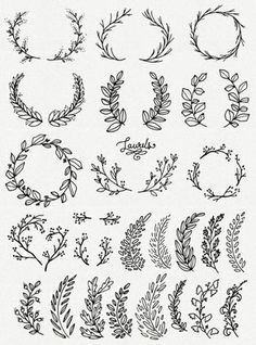 Whimsical Laurels & Wreaths Clip Art // Photoshop Brushes PNG Files // Hand Drawn Vector Flowers Blossoms Foliage Berries // Commercial Use CLIP ART: Whimsical Laurels & Wreaths // par thePENandBRUSH sur Etsy - Cartilage Piercing Clipart, Vector Flowers, Photoshop Brushes, Bullet Journal Inspiration, Bujo Inspiration, Tattoo Inspiration, Art Drawings, Tattoo Drawings, Hand Lettering