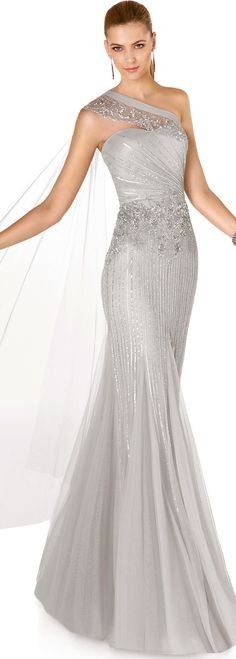 Beautiful silver one shoulder #Eveningdress #Styleinspiration #TheAmandaFerriShowroom