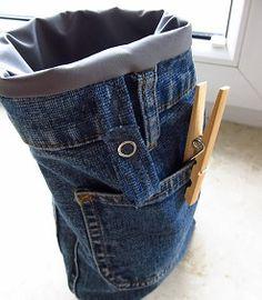 koszyk na spinacze / recycled jeans, denim