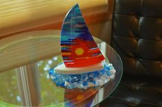 Sailboat with Sunset Sail  Fused Glass Art by JeanineHuot on Etsy, $585.00