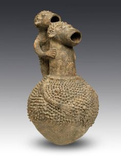 Africa | Figurative vessel from the Mambila people of Cameroon | Terracotta | 20th century