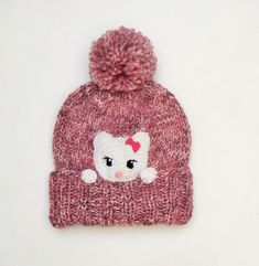 Winter hat Girls Winter Outfit Cat hat Kitty Hat Pom Pom by 2mice