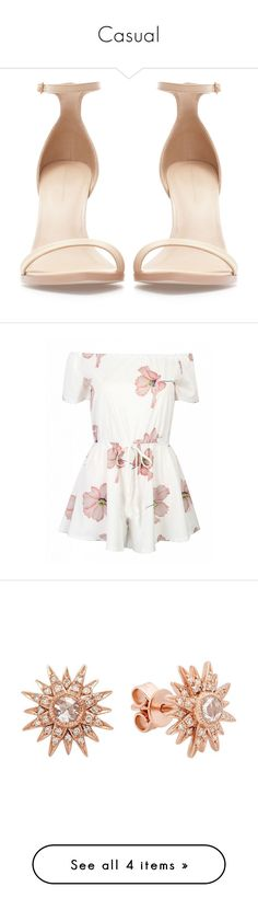 Casual by sammit0404 on Polyvore featuring polyvore, women's fashion, shoes, sandals, heels, zapatos, sapatos, nude, leather footwear, nude heel shoes, zara shoes, leather heeled sandals, leather shoes, clothing, jumpsuits, rompers, dresses, playsuits, tops, white, white floral romper, off the shoulder jumpsuit, floral rompers, white jump suit, white jumpsuit, jewelry, earrings, accessories, earrings jewelry, charm jewelry, sparkle jewelry, sparkly earrings, charm earrings, watches, pink…