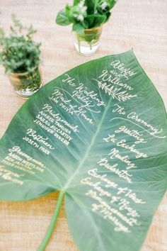 creative green leave wedding menu ideas