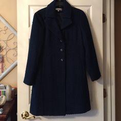 Larry Levine winter trench coat Beautiful winter trench coat . Blue in good condition Larry Levine Jackets & Coats Trench Coats