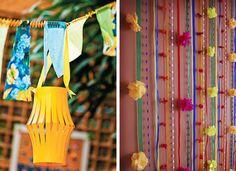 Decoração de festa junina. Ao invés das bandeirinhas, uma sugestão é prender fitas coloridas na parede. Esses abajures de papel também deixam a iluminação bem legal!