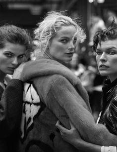 Isabeli Fontana, Carolyn Murphy & Milla Jovovich, Vogue Italia October 2016, by Peter Lindbergh